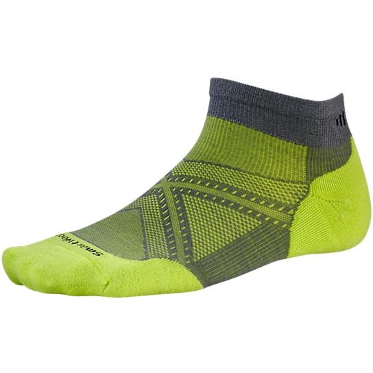 Nogavice volnene PHD RUN LITE ELITE LC Graphite/Sm.Green Smartwool